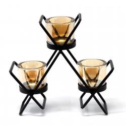Kovový svietnik na tri sviečky Trojuholník