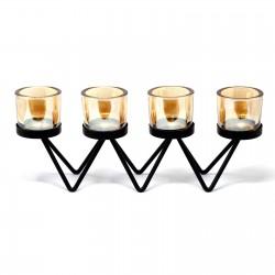 Kovový svietnik na štyri sviečky Cik-Cak