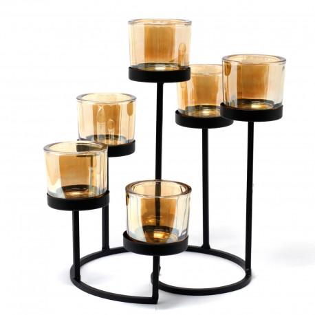 Kovový svietnik na šesť sviečok Okrúhly