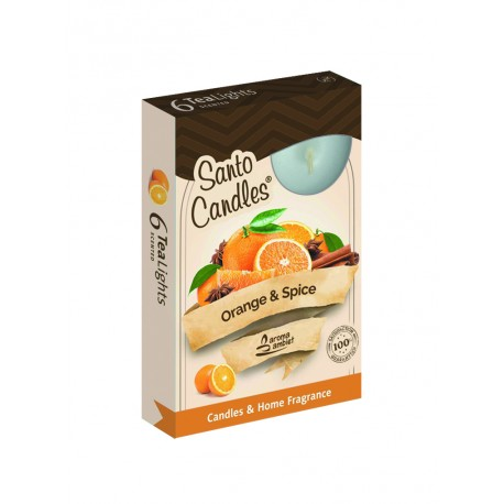 Čajové vonné sviečky (6ks) Pomaranč a korenie