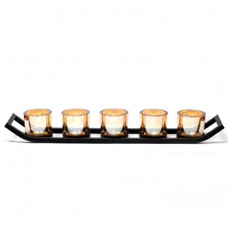 Kovový svietnik na päť sviečok